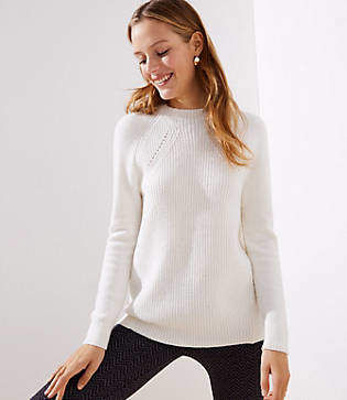 LOFT Petite Mixed Ribbed Mock Neck Sweater