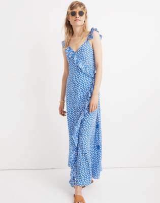 Madewell Ruffled Wrap Maxi Dress in Mini Daisy