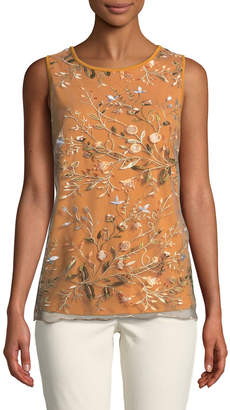 Neiman Marcus Embroidered-Mesh Front Tank
