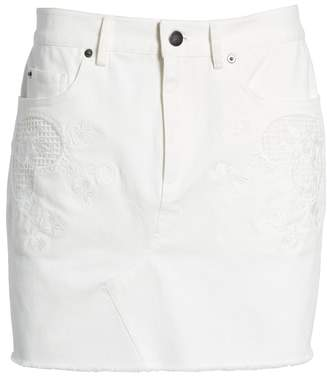 Rebecca Minkoff Eva Embroidered Denim Miniskirt