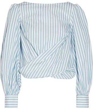 Johanna Ortiz - Bahia Open-back Striped Cotton-poplin Wrap Top - Sky blue $710 thestylecure.com