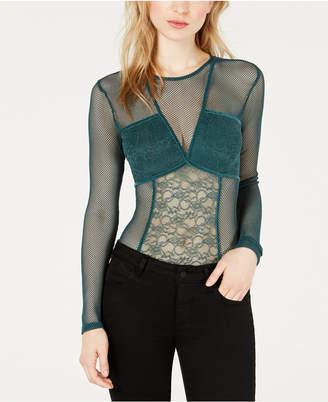 GUESS Cyon Illusion Lace-Contrast Bodysuit
