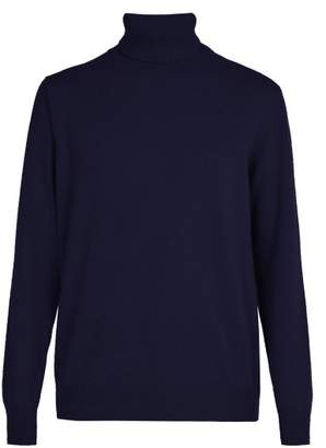 President's - Washed Wool Roll Neck Sweater - Mens - Navy