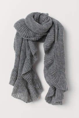 H&M Knit Flounced Scarf - Gray