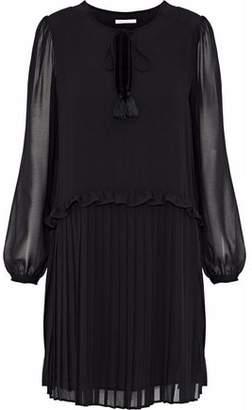 Rebecca Minkoff Morrison Pleated Crepe De Chine Mini Dress