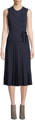 Yigal Azrouel Sleeveless Wrap-Front Pleated Knit Dress