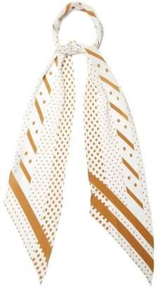 Rockins - Polka Print Classic Skinny Silk Scarf - Womens - White Gold