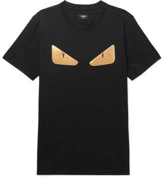 Fendi Slim-Fit Appliqued Cotton T-Shirt - Men - Black