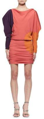 Tom Ford Colorblock Blouson Fitted Minidress