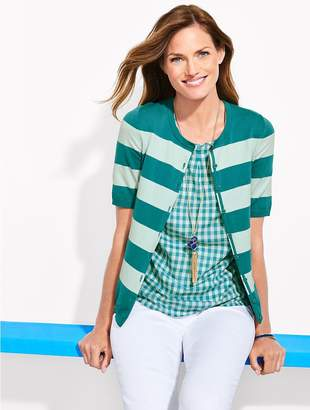 Talbots Elbow-Sleeve Charming Cardigan - Bold Stripes