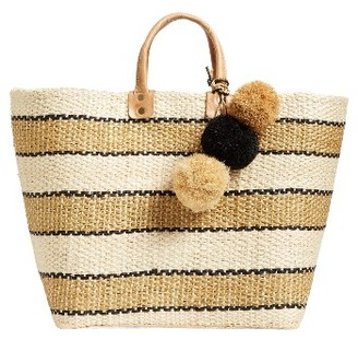 Mar Y Sol 'Capri' Woven Tote With Pom Charms - Brown $139 thestylecure.com
