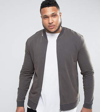 Asos PLUS Muscle Fit Jersey Bomber Jacket With Distressing In Black