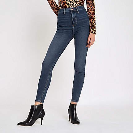 Womens Mid Blue Kaia high waisted skinny disco jeans