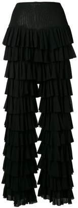 Norma Kamali ruffle tiered trousers