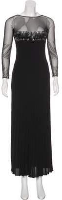 Valentino Embellished Mesh-Paneled Dress Black Embellished Mesh-Paneled Dress