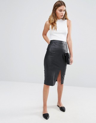 Oasis Leather Look Split Front Midi Skirt $62 thestylecure.com