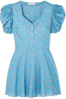 LoveShackFancy Cora Floral-print Cotton Mini Dress - Blue
