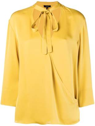 Theory tie front wrap blouse