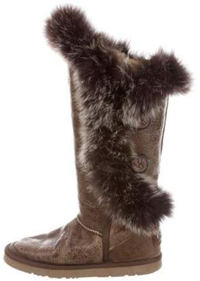 Australia Luxe Collective Shearling-Trimmed Tsar Boots Tan Shearling-Trimmed Tsar Boots