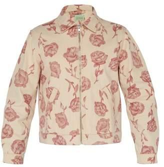 Aries Rose Print Cotton Harrington Jacket - Mens - Red White