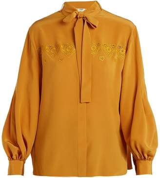Fendi Heart-embroidered tie-neck silk shirt