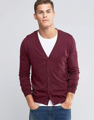 Asos DESIGN Cardigan In Burgundy Cotton