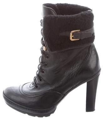 bb31e97c55 Ralph Lauren Purple Label Shearling-Trimmed Ankle Boots