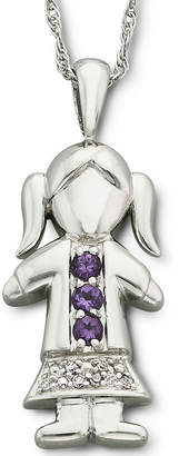 JCPenney FINE JEWELRY Sterling Silver Birthstone Girl Charm Pendant Necklace