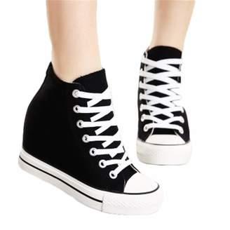 f188de1846aa Yyixianma 8cm High Heels Shoes Casual Canvas Shoes Platform Wedges High Top  Ladies Hidden Wedge Heels