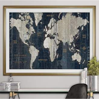 Williston Forge 'OLD WORLD MAP' Framed Acrylic Painting Print Frame