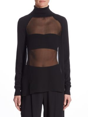 Ralph Lauren Collection Silk-Blend Sheer Top