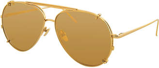 Linda Farrow Aviator Glasses w/ Removable Sun Lenses, Yellow Pattern
