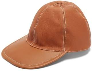 Loewe Anagram Logo Leather Baseball Cap - Mens - Tan