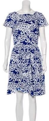Oscar de la Renta Printed Knee-Length Dress w/ Tags