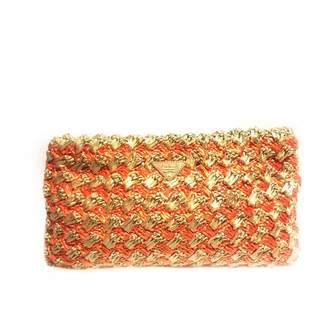Prada Brown Wicker Clutch Bag