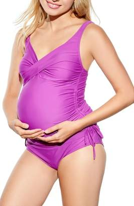Maternal America Ruched Maternity Tankini Swimsuit