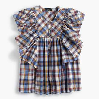 J.Crew Petite ruffle top in vintage plaid