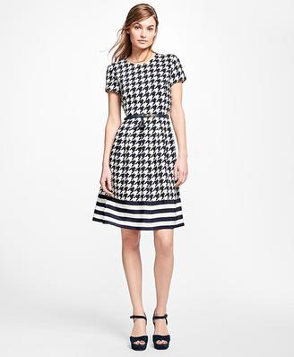 Silk Houndstooth and Stripe Dress $198 thestylecure.com