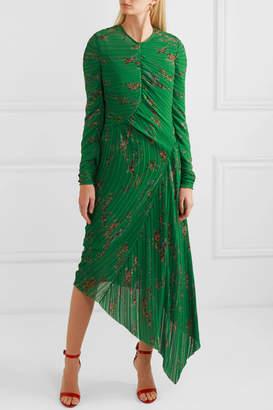 Preen by Thornton Bregazzi Teresa Asymmetric Floral-print Plissé-georgette Midi Dress - Green