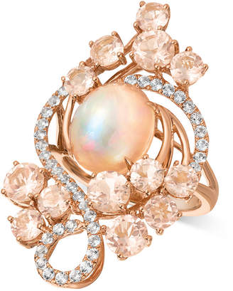 LeVian Le Vian Crazy Collection® Neapolitan Opal (2-1/2 ct. t.w.), Peach Morganite (3-2/5 ct. t.w.), and Vanilla Topaz (7/10 ct. t.w.) Ring in 14k Rose Gold, Created for Macy's