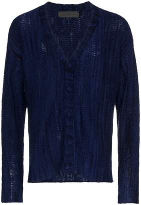 The Elder Statesman navy vertical stripe cashmere cardigan
