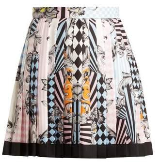 Versace Harlequin Print Silk Skirt - Womens - Pink Multi