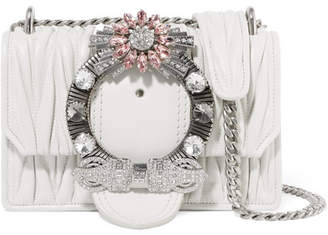Miu Miu Miu Lady Crystal-embellished Matelassé Leather Shoulder Bag - White