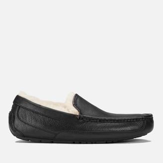 UGG Men's Ascot Grain Leather Slippers - Black