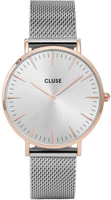Cluse La Bohème Mesh Rose Gold Case with Silver Dial and Silver Mesh Strap ladies watch