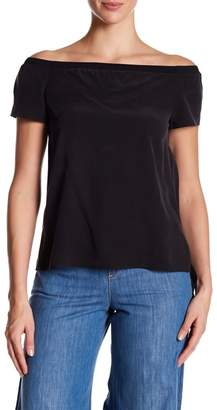 Alice + Olivia Hadley Off Shoulder Ribbed Trim Tee