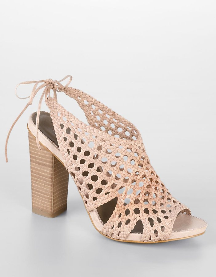 B. Makowsky Pat Woven Leather High-Heel Sandals
