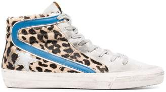 Golden Goose Leopard Print Slide Pony hi top sneakers