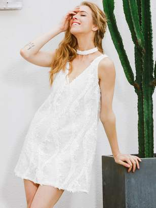 Shein Simplee Sequin Detail Double V Neck Choker Lace Dress