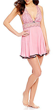 Cinema Etoile Valerie Collection Pleated Chiffon Halter Babydoll